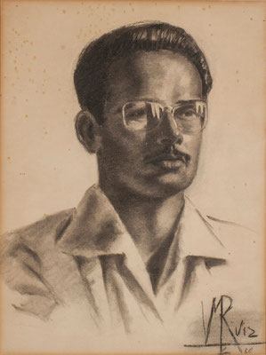 Víctor Ruiz Pérez, 1960. Retrato de José Peraza. Carboncillo sobre papel, 38,3 x 51 cm. Real Academia Canaria de Bellas Artes