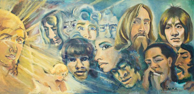 Dios Ra.  Óleo sobre tabla, 205 x 98 cm. Col. familia Macía Bonnet