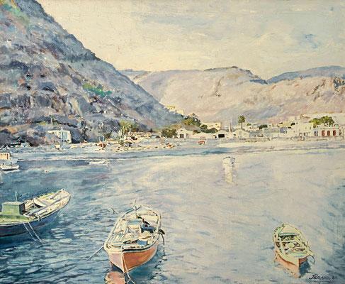 Playa Santiago (La Gomera).  Óleo sobre lienzo, 71,5 x 58,5 cm. Col. José Miguel Ramos Noda