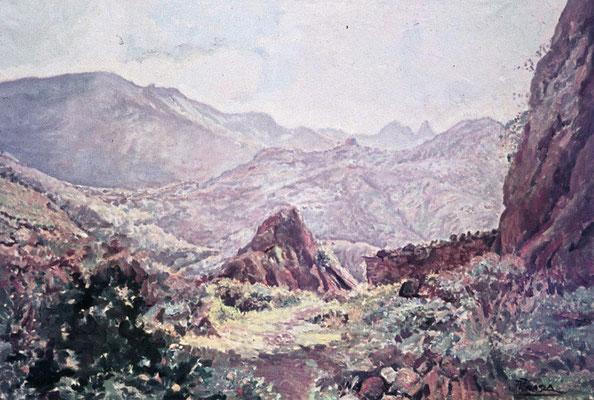 Roque de Los Pinos.  Obra no localizada, rescatada del archivo fotográfico del pintor