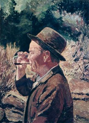 Campesino bebiendo un vaso de vino.  Obra no localizada, rescatada del archivo fotográfico del pintor
