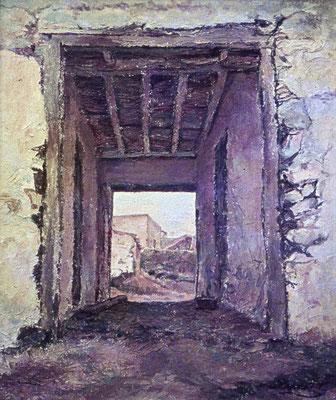Portada de Taucho (Tenerife).  Óleo sobre lienzo, 57,5 x 76,5 cm. Colección Eladio González de la Cruz
