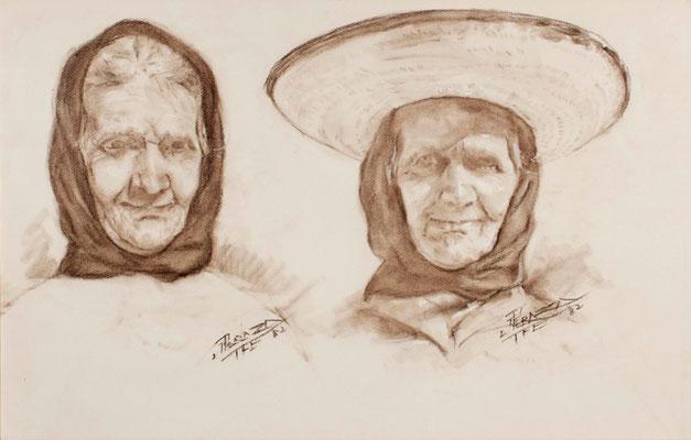 Estudio de campesina.  Crayón bistre sobre papel, 75,5 x 48 cm. Real Academia Canaria de Bellas Artes