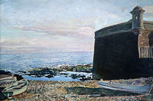 Castillo de San Juan (Santa Cruz).  Obra no localizada, rescatada del archivo fotográfico del pintor
