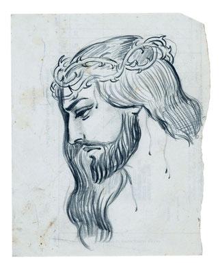 Cristo con corona de espinas.  Lápiz grafito sobre papel, 22 x 32 cm. Col. familia Macía Bonnet