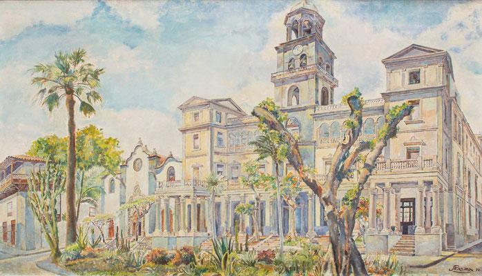 La Audiencia Provincial, la iglesia de San Francisco y el Hotel Camacho, 1976.  Óleo sobre lienzo, 137,5 x 78 cm. Col. José Ismael Rodríguez Álvarez