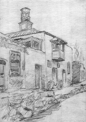 Sin título.  Lápiz grafito sobre papel. Casas de la Vera del Barranco de Santos. Apunte. Colección familia Macía Bonnet