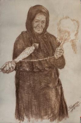 Estudio para «Hilando (Taganana)», 1982.  Crayón bistre sobre papel, 52,4 x 79 cm. Colección particular