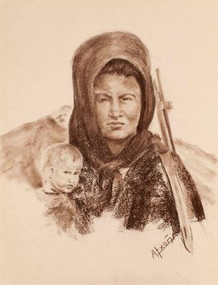 Mujer del Polisario con fusil. Crayón bistre sobre papel, 48,5 x 63,5 cm. Archivo Histórico Provincial de Santa Cruz de Tenerife