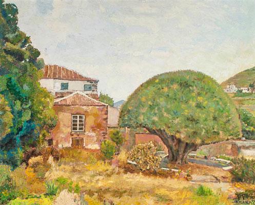 Seminario de La Laguna (Patio trasero), 1977. Óleo sobre arpillera, 108 x 87,5 cm. Col. familia Macía Bonnet
