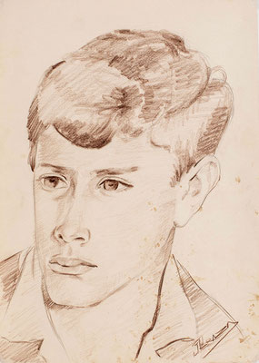 Sin título.  Lápiz sanguina sobre papel, 24 x 34 cm. Col. familia Macía Bonnet