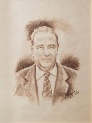 José Peraza Gómez. Crayón bistre sobre papel, 48 x 60 cm. Col. Holanda González Acosta
