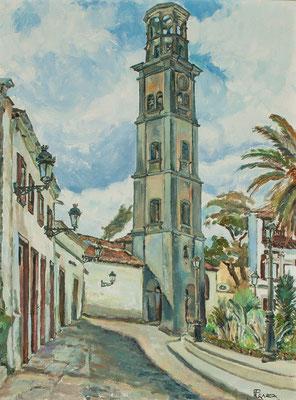 Plaza de la iglesia de La Concepción.  Óleo sobre lienzo, 54 x 72 cm. Real Academia Canaria de Bellas Artes