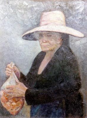 Vendedora.  Obra no localizada, rescatada del archivo fotográfico del pintor