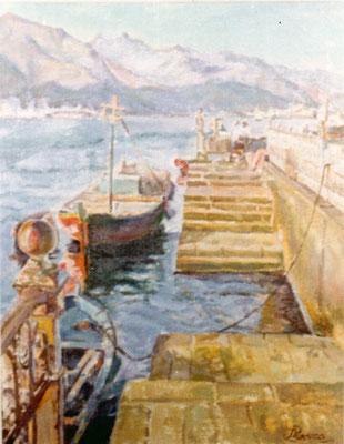 Sin título.  Obra no localizada, rescatada del archivo fotográfico del pintor. Embarcaciones junto a la Marquesina de Santa Cruz de Tenerife