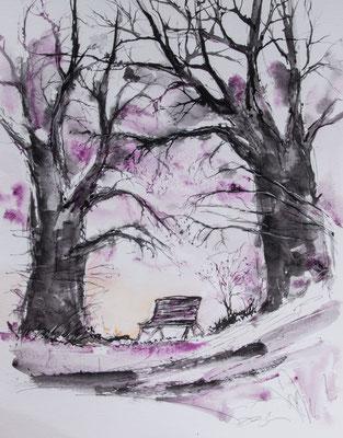 les amoureux au banc public - geants de papier aquarelle bretagne @johannegicquel