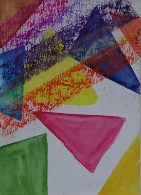 Nr.-I 16: Dreieckstudien 2, Pastell, A 4, Papier