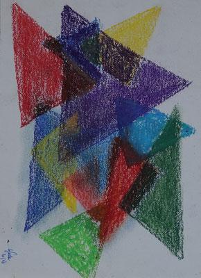 Nr.-I 15: Dreieckstudien 1, Pastell, A 4, Papier