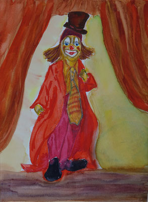 Nr.-I 2: Clown in Rot, Aquarell, A4, Papier