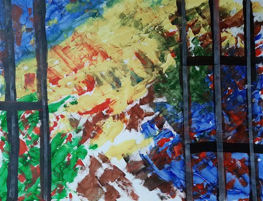39-2020: Blick aus dem Fenster -3; Ölpastell, Leinwandstruktur