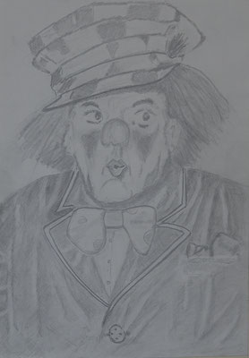 Nr.-I 14: Clown Po..., Bleistift, A 4, Papier