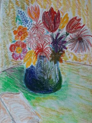 35-2020: Blaue Vase, Ölpsatell, Aquarell, Leinwandstruktur