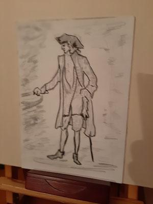 7/2020, nach Watteau, 24x30, Tonzeichenpapier, Bleistift, Tusche
