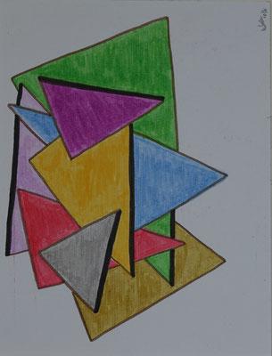 Nr.-I 17: Dreiechstudien 3, Farbstift, A 4, Papier