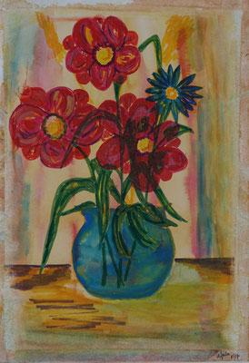 Nr.-I 5: Blaue Vase, Aquarell, A 4. Papier
