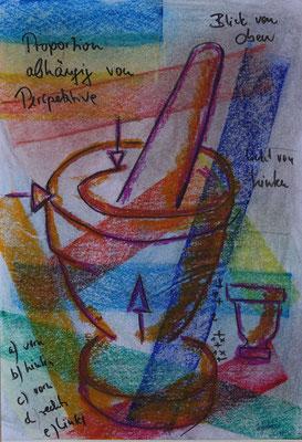 Nr.-I 11: Mörserideen, Pastell, A 4, Papier