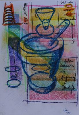 Nr.-I 10: Mörsertipps, Pastell, A 4, Papier