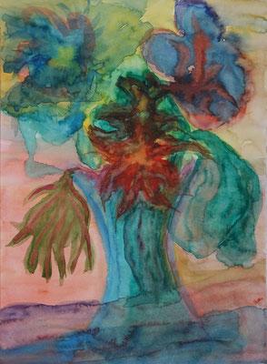 Nr.-I 7: Blumen, Aquarell, A 3, Papier