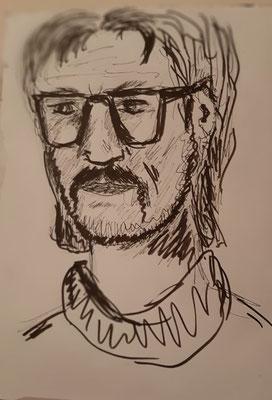 6/2020, Skizze Kopf eines Mannes, 24x30, Zeichenkarton, Tusche
