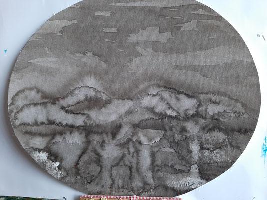 22/2020, Ferne Berge, Tusche, oval35x30, Zeichenkarton