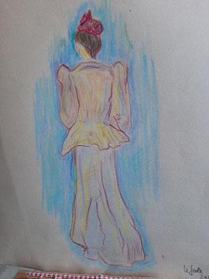16/2020, nach Lautrec, Buntstift, A4, Zeichenkarton