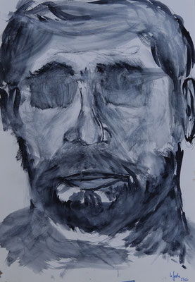 Nr.-I 9: Mann mit Brille, Aquarell, A 4, Papier