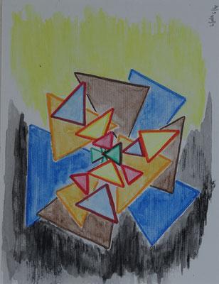 Nr.-I 18: Dreieckstudien 4, Farbstift, A 4, Papier