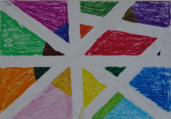 Nr.-I 13: Formenspiel, Pastell, A 4, Papier
