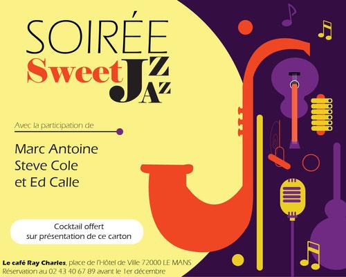 Création d'un carton d'invitation pour une soirée Jazz - Graphiste Sarthe