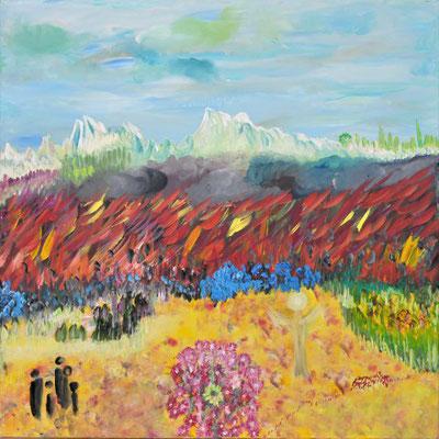 Bild Nr. 153, Format 80/80, Wald in Flammen, Preis Fr. 890.00