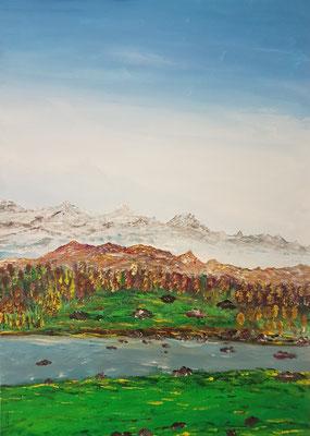 Bild Nr. 380, Format 50/70 cm, Berglandschaft, Preis Fr. 630.00