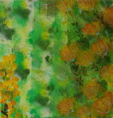 Bild Nr. 276, Format 20/20, Blumen grün + gelb, Preis Fr. 85.00