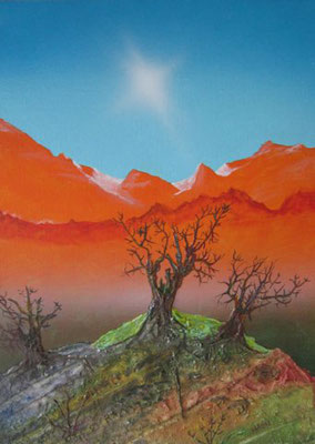 Bild Nr. 195, Format 42.5/32, Orange Berge, Preis Fr. 240.00