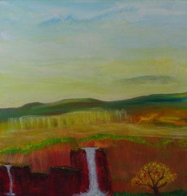 Bild Nr. 303, Format 30/30, Fels mit Wasserfall, Preis Fr. 210.00