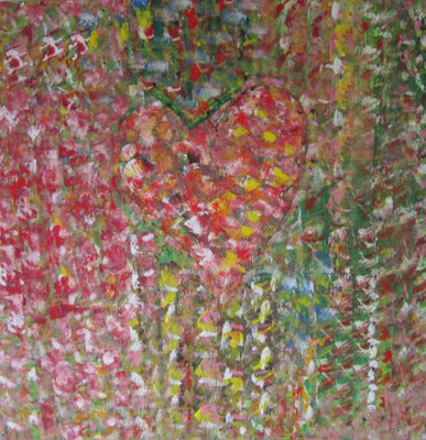 Bild Nr. 217, Format 100/100, 2 Herzen im Blumengarten, Preis Fr. 600.00