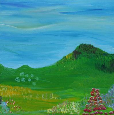 Bild Nr. 61, Format 40/40, Bewachsener Hügel, Preis Fr. 230.00