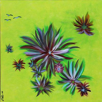 Bild Nr. 77, Format 50/50, Farbenfrohe Disteln, Preis Fr. 290.00