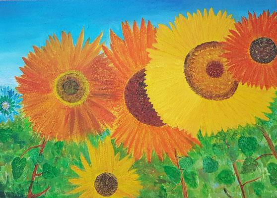 Bild Nr. 268, Format 100/70, Sonnenblumen, Preis Fr. 1'500.00