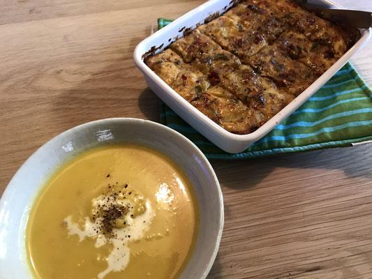 平山さんの奥様がかぼちゃのスープなど作ってくれて感動☆