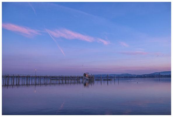 8031 Schiffsanlegestelle Iznang im Morgenlicht